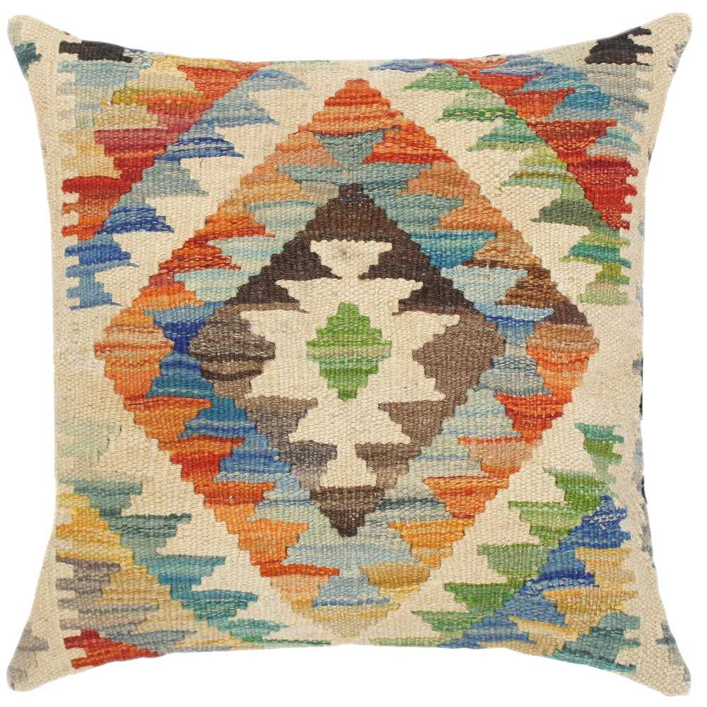 Southwestern Rosamari Hand-Woven Turkish Kilim Pillow 18 in. x 18 in. (Accent - 18 in. x 18 in. - Polyester - Rust - Single)