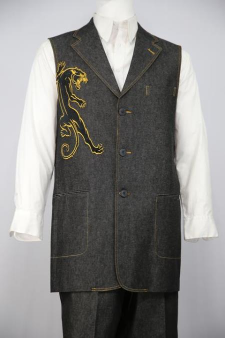 Mens Black Panther Embroidered Denim Notch Lapel Zoot Suit Black