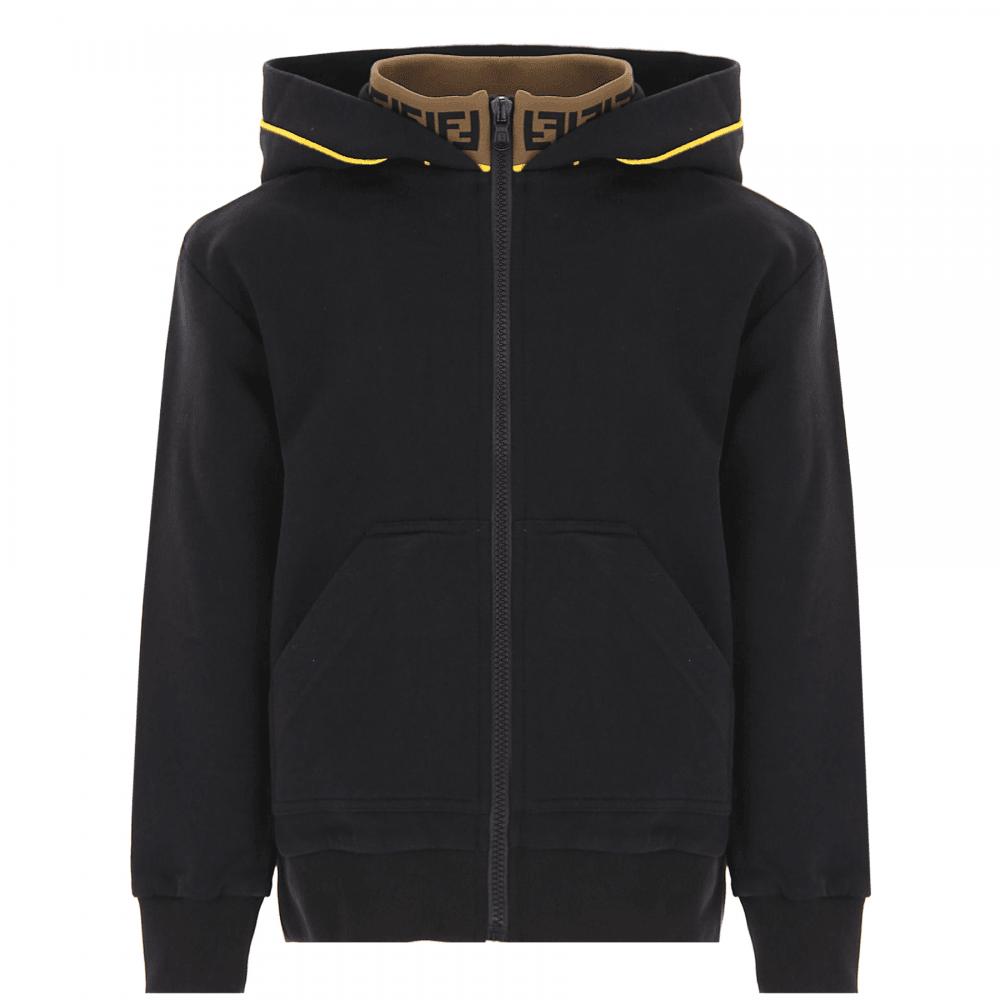 Fendi Kids Sleeve Hoodie Colour: BLACK, Size: 10 YEARS