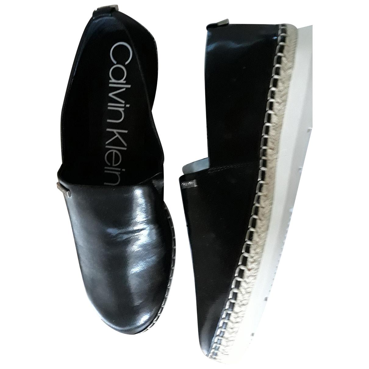 Calvin Klein - Espadrilles   pour femme en cuir - noir