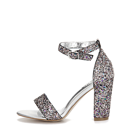 Yoins Colorful Sequin Ankle Strap High Heeled Sandals