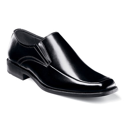 Stacy Adams Cassidy Mens Moc-Toe Slip-On Leather Dress Shoes, 10 1/2 Wide, Black
