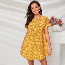 Gelb  Knopfen vorn Bluemchen Bohmisch Kleider