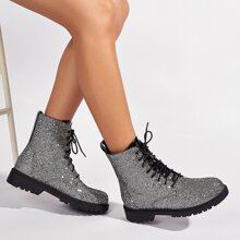 Allover Rhinestone Decor Combat Boots