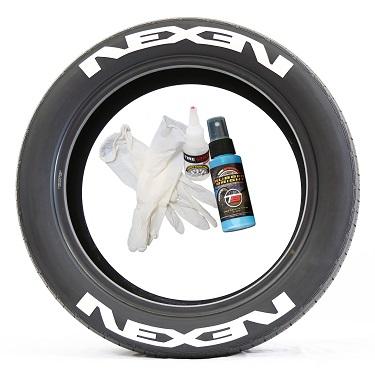 Tire Stickers NEXEN-2-8-PM-1 Permanent Raised Rubber Lettering 'Nexen' Logo - 8 of each -  14-21