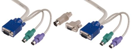 RS PRO 5m PS/2 x 2, VGA to PS/2 x 2, VGA KVM Mixed Cable Assembly