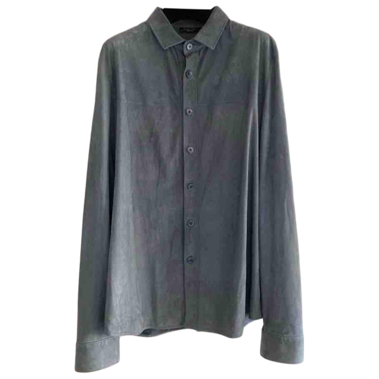 Loro Piana - Chemises   pour homme en suede - bleu