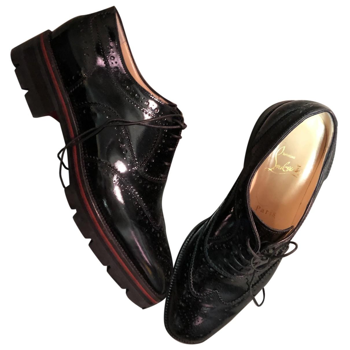 Christian Louboutin - Derbies   pour femme en cuir verni - noir