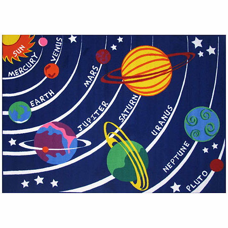 Solar System Rectangular Indoor Rugs, One Size , Blue