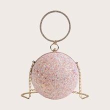 Glitter Ball Clutch Bag With Ring Handle