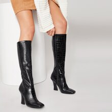 Croc Embossed Knee-High Pointed Toe Boots