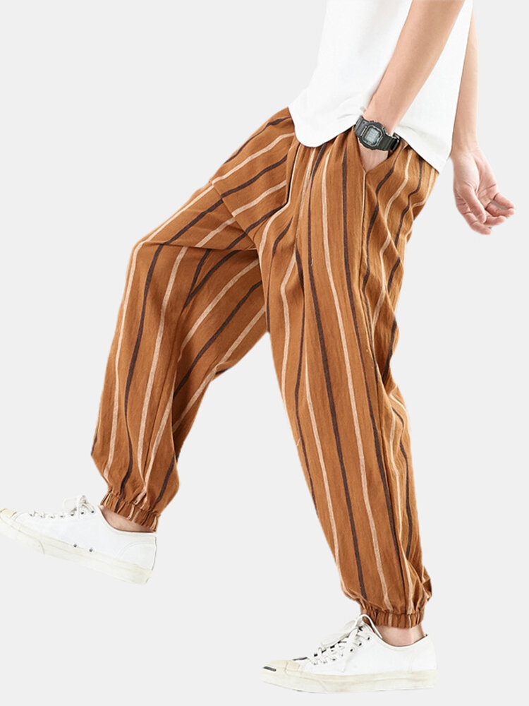 Mens Stripe Linen Casual Loose Elastic Waist Beam Feet Harem Pants