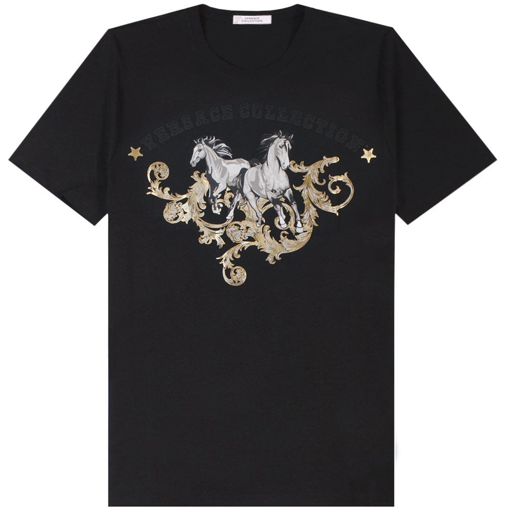 Versace Collection Chariot Print T-Shirt Colour: BLACK, Size: EXTRA EXTRA LARGE