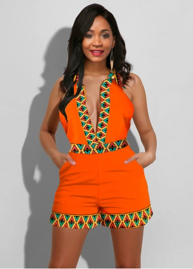 Sleeveless Tribal Print Plunging Neck Romper - XS