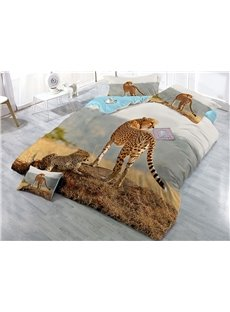 Leopard Family Wear-resistant Breathable High Quality 60s Cotton 4-Piece 3D Bedding Sets
