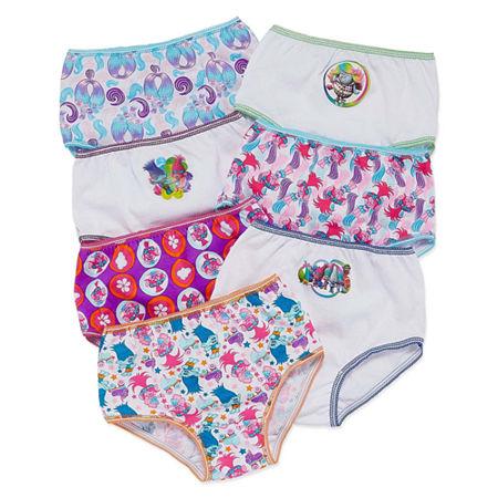 Little Girls 7 Pack Trolls Brief Panty, 4 , Multiple Colors