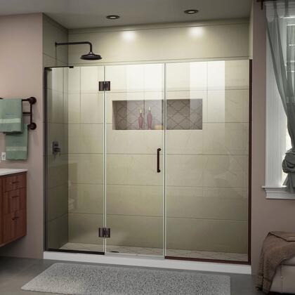 D3291472L-06 Unidoor-X 67-67 1/2 W X 72 H Frameless Hinged Shower Door In Oil Rubbed