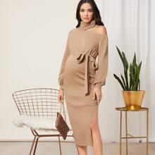 Umstandsmode Kleid mit asymmetrischem Kragen, Selbstguertel und Schlitz