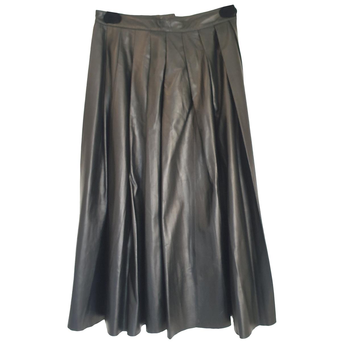 Blk Dnm \N Black Leather skirt for Women S International