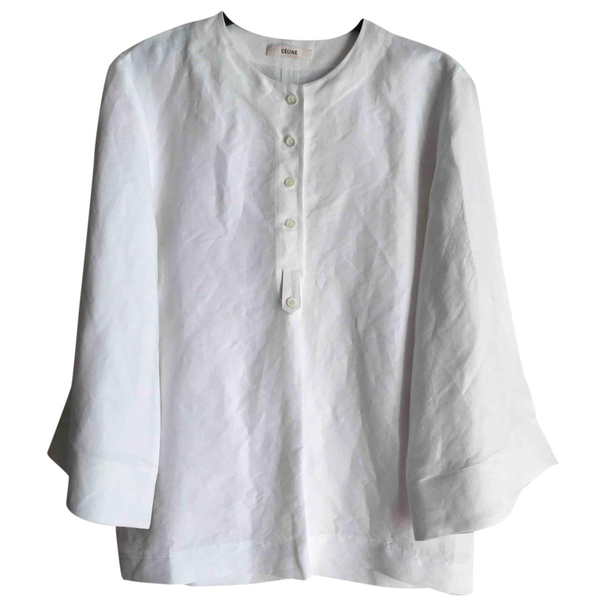 Celine - Top   pour femme en lin - blanc