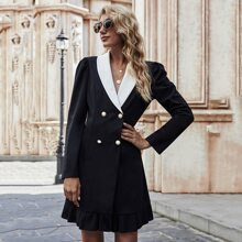 Shawl Collar Puff Sleeve Double Breasted Blazer Dress