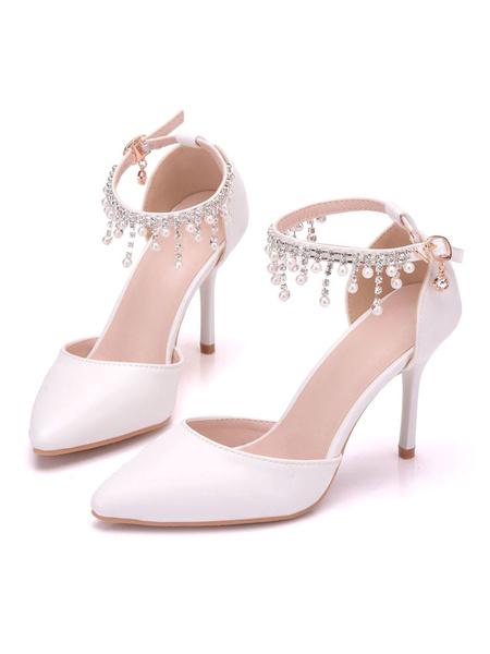 Milanoo Zapatos de novia de PU 9cm Zapatos de Fiesta Zapatos blanco  de tacon de stiletto Zapatos de boda de puntera puntiaguada con perlas