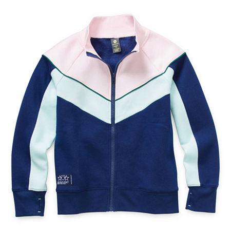 Xersion Cotton Fleece Little & Big Girls Long Sleeve Sweatshirt, Small (7-8) , Blue