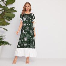 Kleid mit Kontrast an Manschetten & Saum, Fledermausaermeln und Blumen Muster