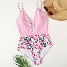Plus Floral Plunging One Piece Swimsuit