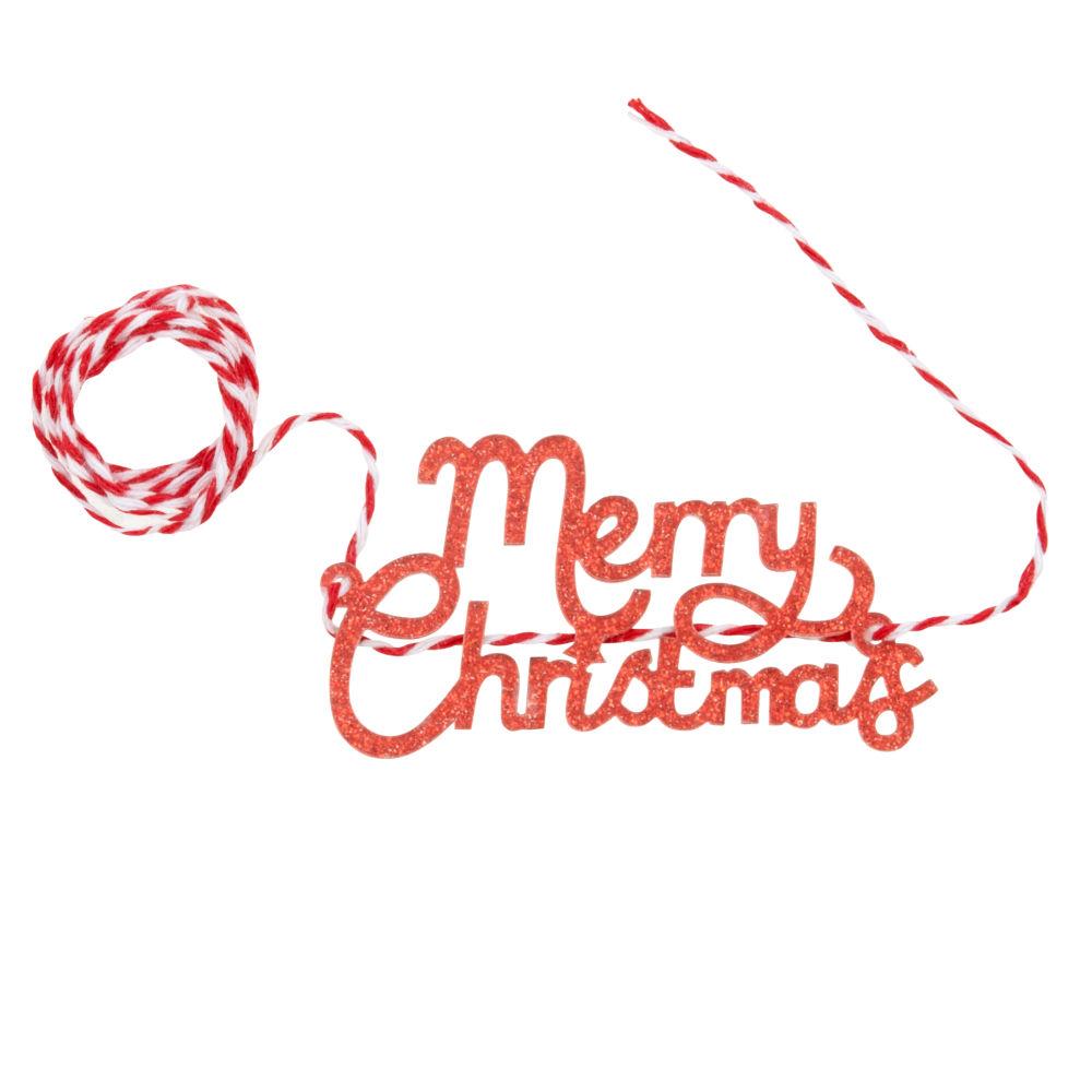 Weihnachtsband mit Schriftzuege, rot und weiss
