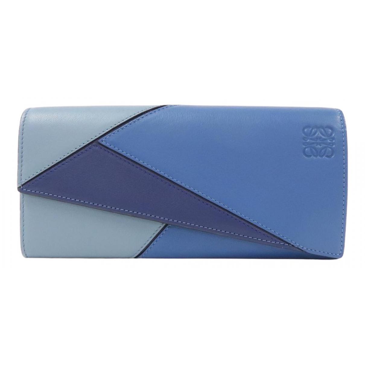 Loewe - Portefeuille Puzzle pour femme en cuir - bleu