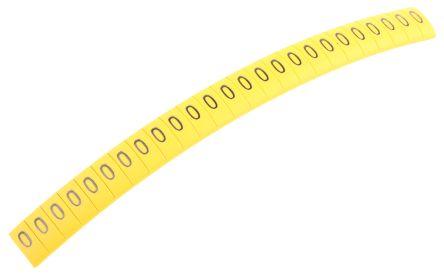 HellermannTyton Ovalgrip Slide On Cable Marker, Pre-printed 0 Black on Yellow 2.5 → 6mm Dia. Range