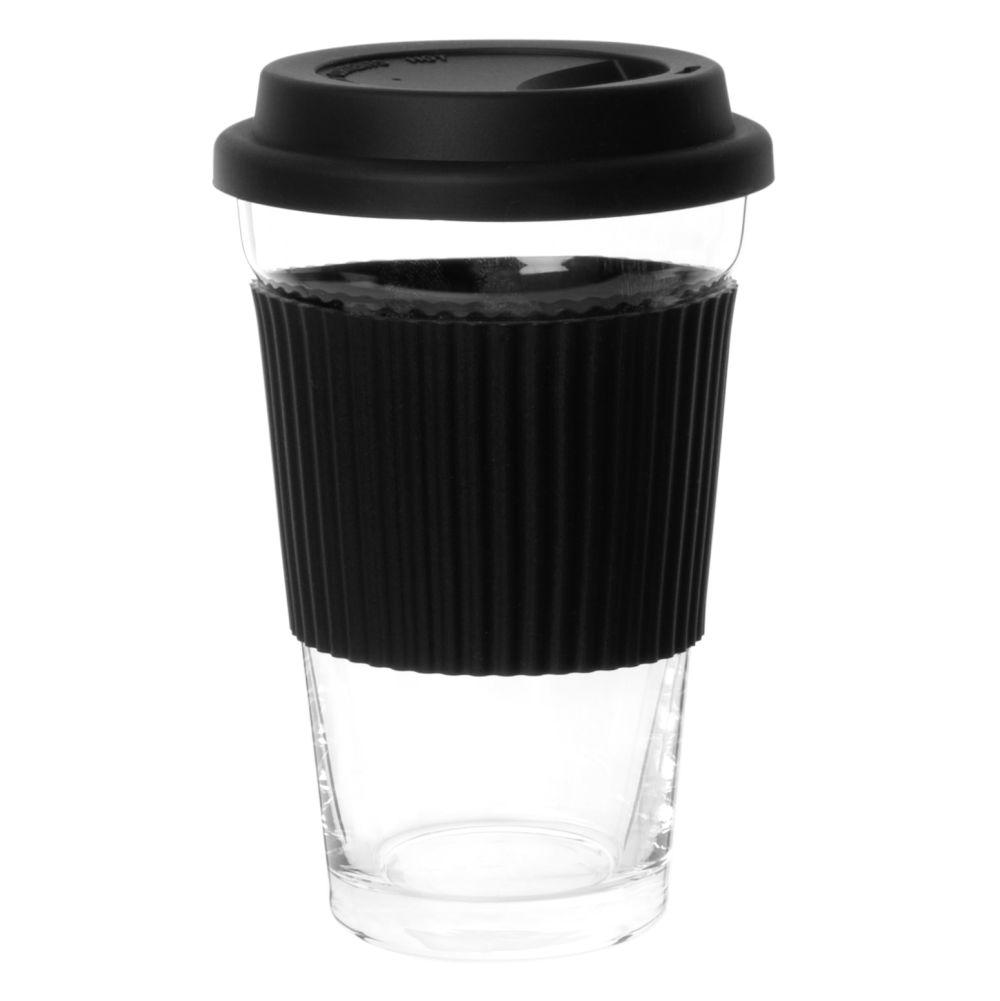 To-go-Becher aus Glas und Silikon, schwarz