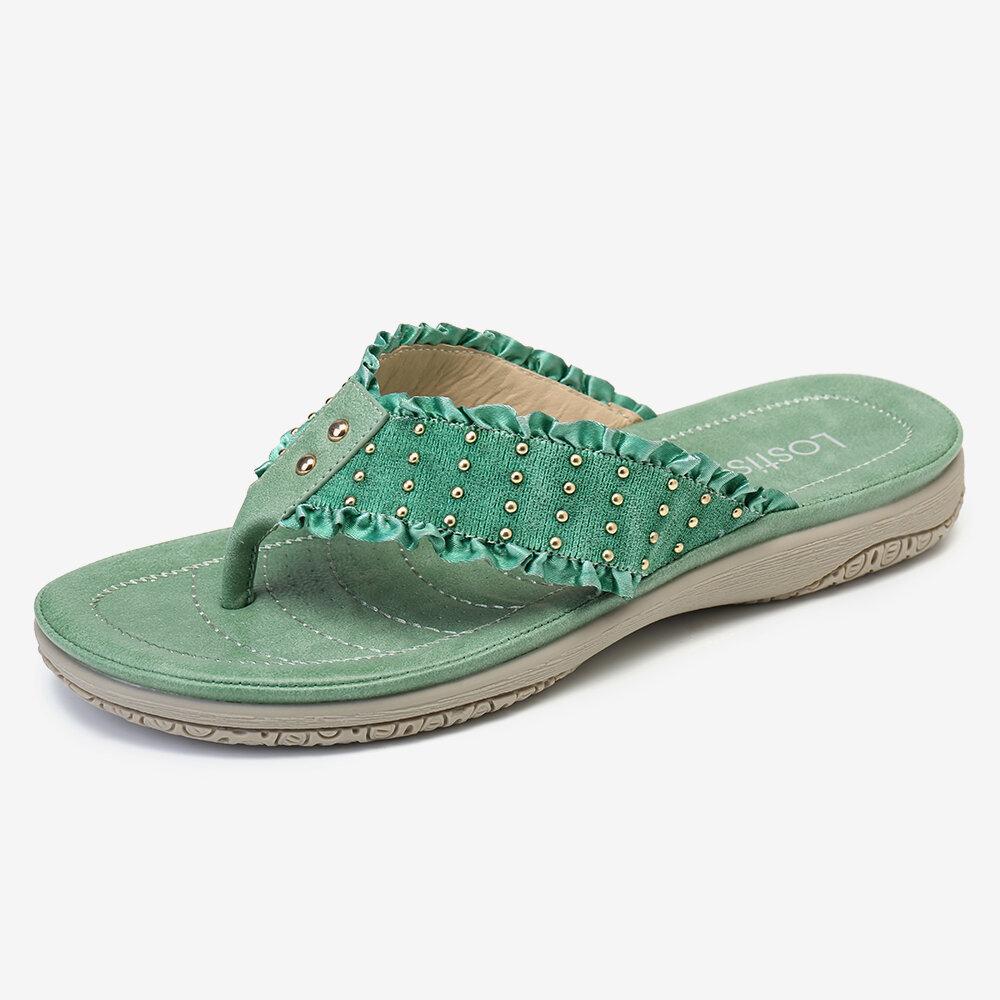 LOSTISY Women Lace Decor Clip Toe Wearable Flip Flops Slippers