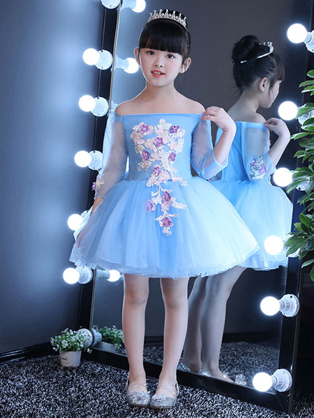 Milanoo Blue Flower Girl Dresses Off The Shoulder Short Tutu Dress Lace Applique Long Sleeve Kids Party Dresses
