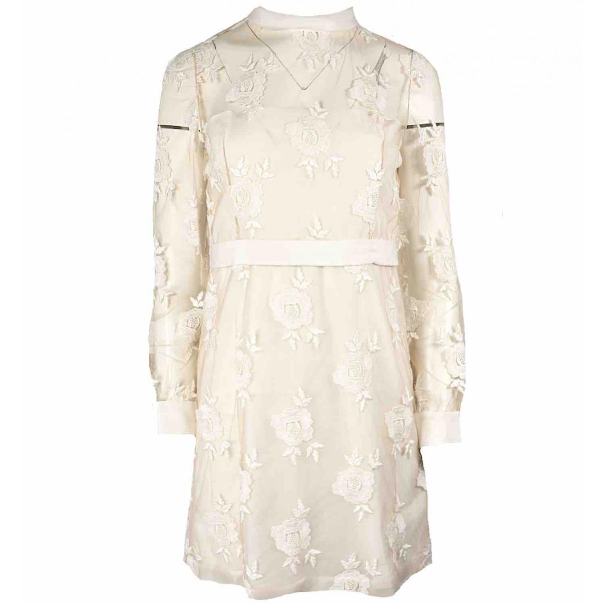 Blumarine \N Kleid in  Ecru Seide
