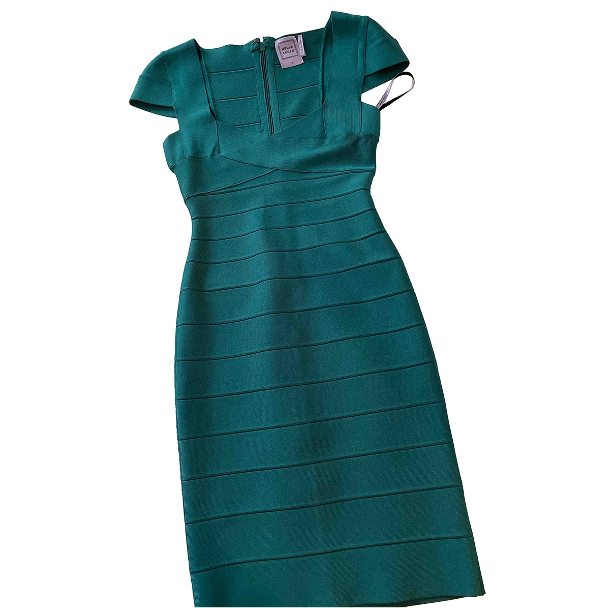 Herve Leger - Robe   pour femme en coton - vert