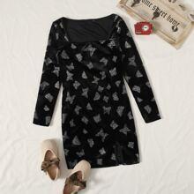 Samt Kleid mit quadratischem Kragen und Schmetterling Muster