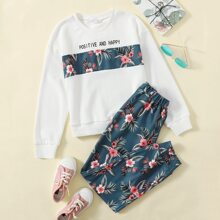 Girls Letter & Floral Print Pullover and Sweatpants Set