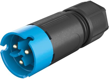 Wieland , RST 08i2/3 Male 3 Pole Circular Connector, Cable Mount, with Strain Relief, Rated At 8A, 250 V, 400 V, Blue (50)