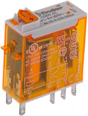 Finder , 230V ac Coil Non-Latching Relay DPDT, 8A Switching Current Plug In, 2 Pole