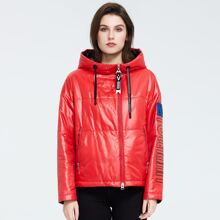 Ziai Letter Patch Drawstring Hooded Zip Up Puffer Coat