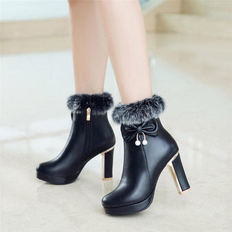 Ericdress Fuzzy Bowknot Decorated Platform High Heel Boots