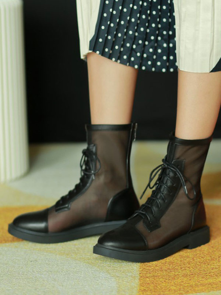 Milanoo Black Summer Boots Round Toe Lace Up Boots For Women