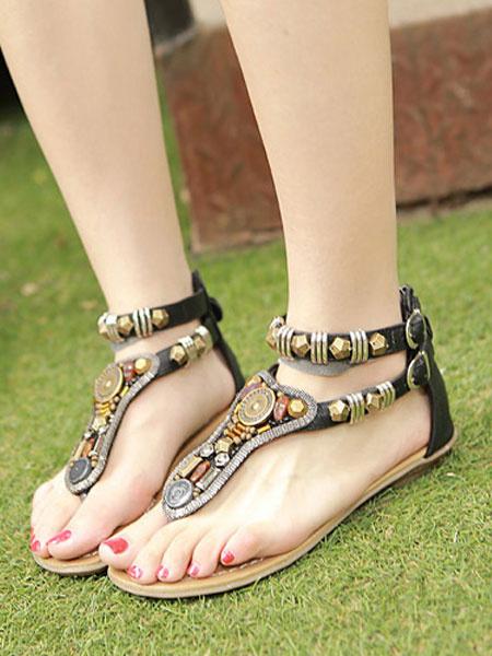 Milanoo Sandalias Plataforma Planas Boho Zapatos Mujer Tanga Marron Detalle De Metal Tipo T Sandalia Con Correa De Tobillo Zapatos