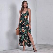 Tropical Print Wrap Belted Slip Dress
