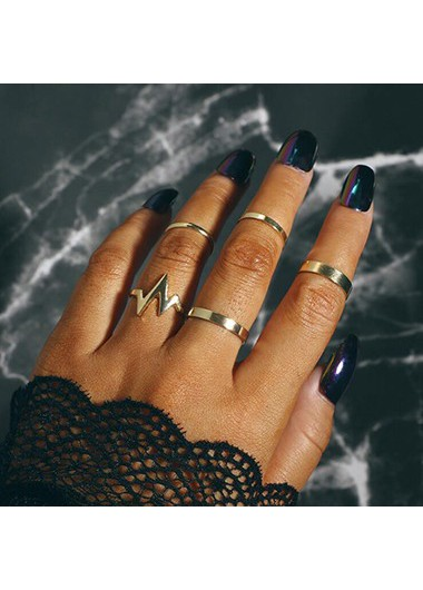 Mother's Day Gifts Geometric Design Gold Metal Ring Set for Women - One Size
