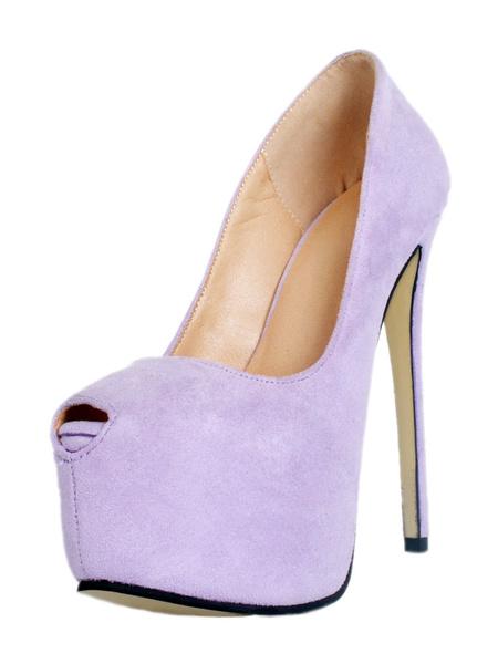 Milanoo Women's Sexy Shoes High Heel Violet Platform Peep Toe Slip On Pumps