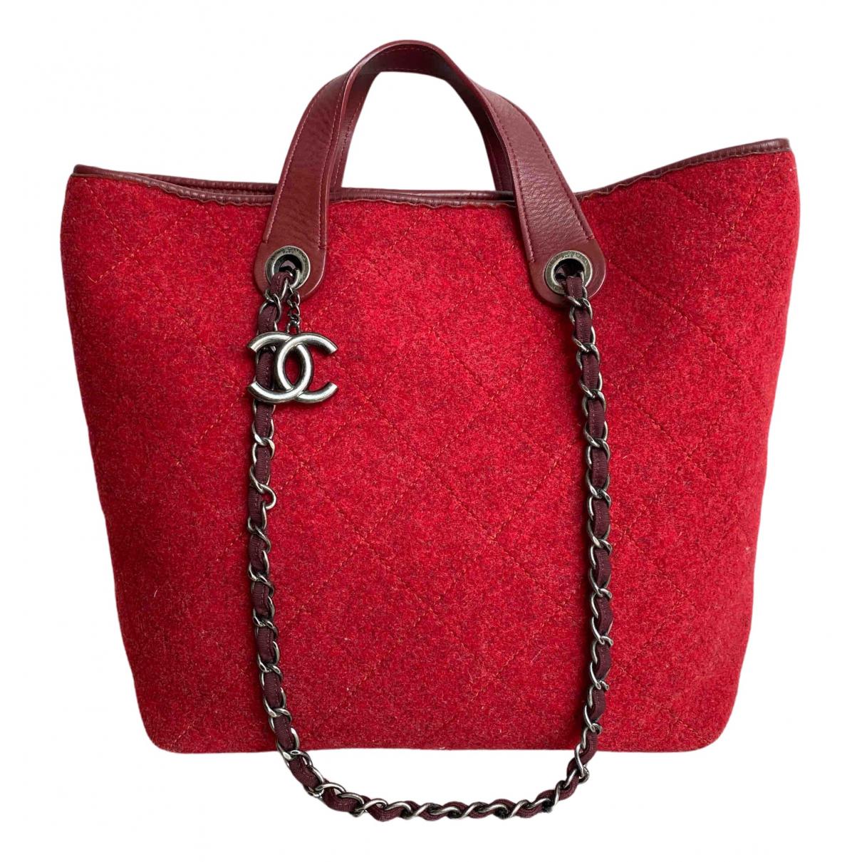 Chanel - Sac a main   pour femme en laine - rouge