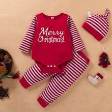 Body mit Weihnachten Buchstaben, Streifen Muster und Hose und Hut